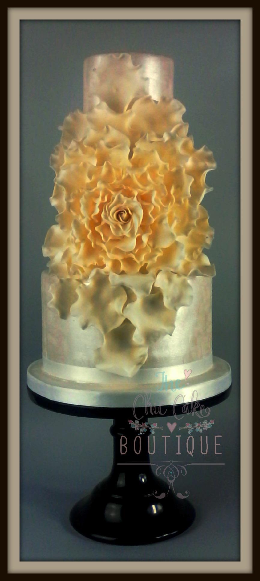 Wedding cake with sugar flower petals