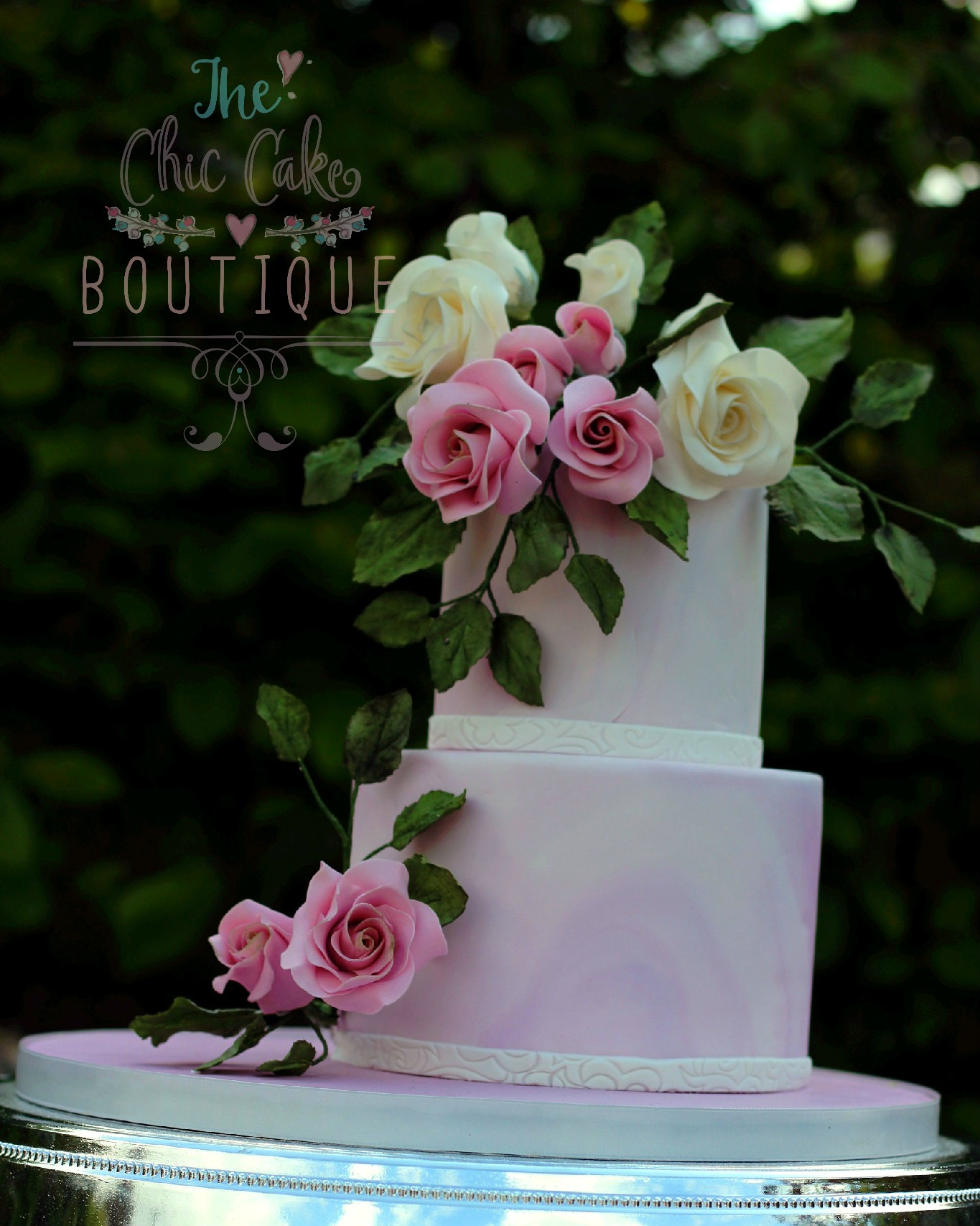 marble wedding cake with sugar flowers