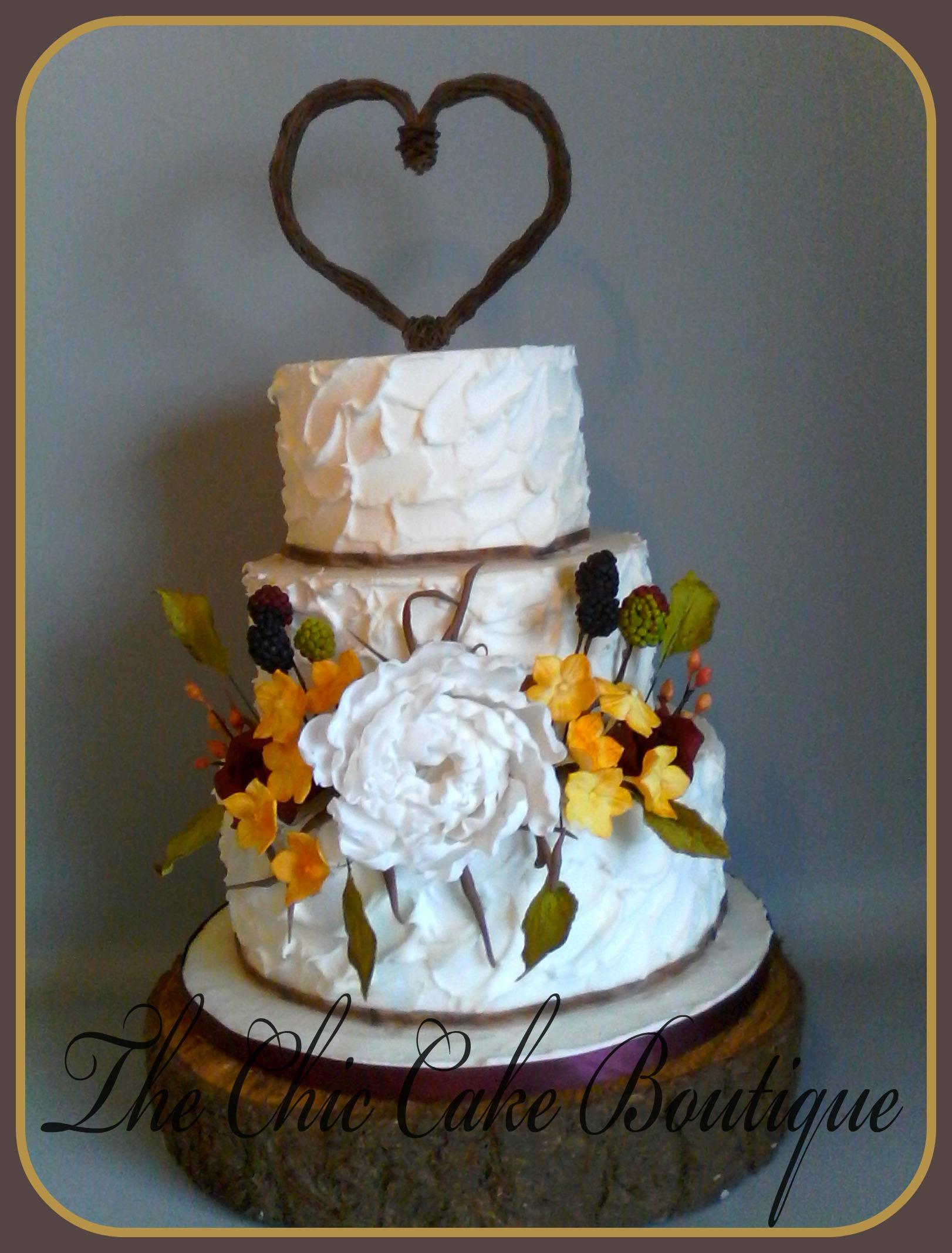 twig topper wedding cake