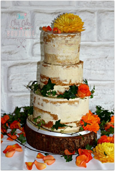 wedding cake with fresh flowers and watermark