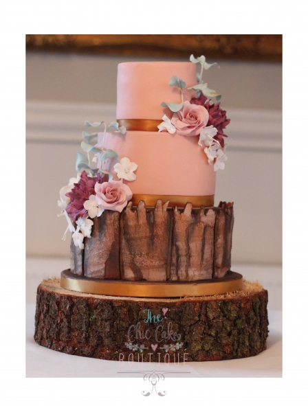 Bark effect Wedding cake with sugar flowers