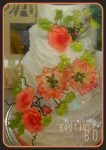 Royal icing with peach with peach sugar flowers