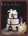 Paris hand painted wedding cake