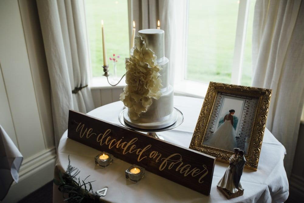Wedding cake with petals