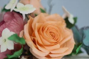 Peach sugar rose for wedding cake